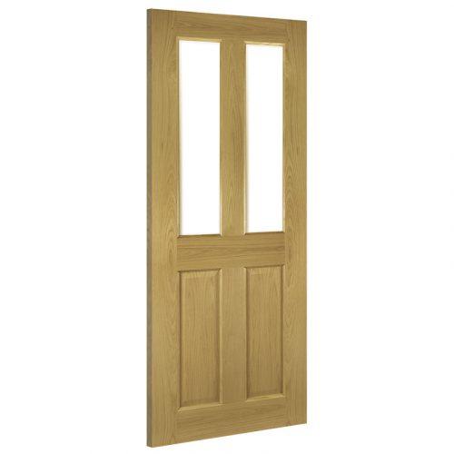 Bury Interior Oak Door Clear Bevelled Glass Prefinished
