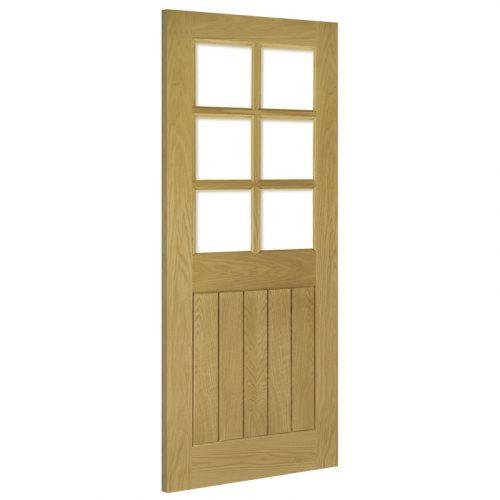 Ely Clear Bevelled Glass Interior Oak Door Prefinished
