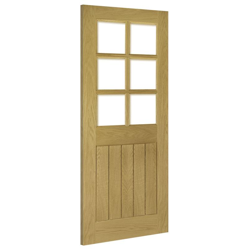 Ely Clear Bevelled Glass Interior Oak Door Unfinished