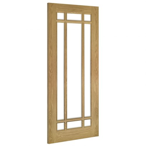 Kerry Clear Bevelled Glass Interior Oak Door Unfinished