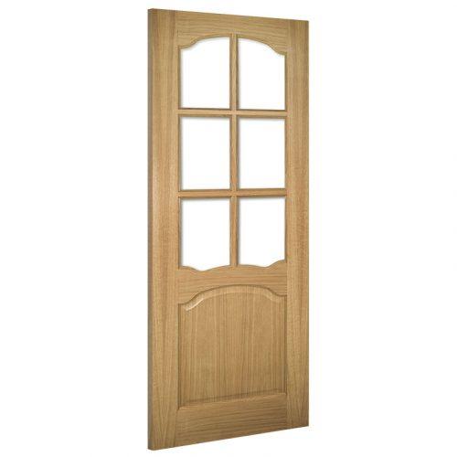 Louis Clear Bevelled Glass Interior Oak Door Unfinished
