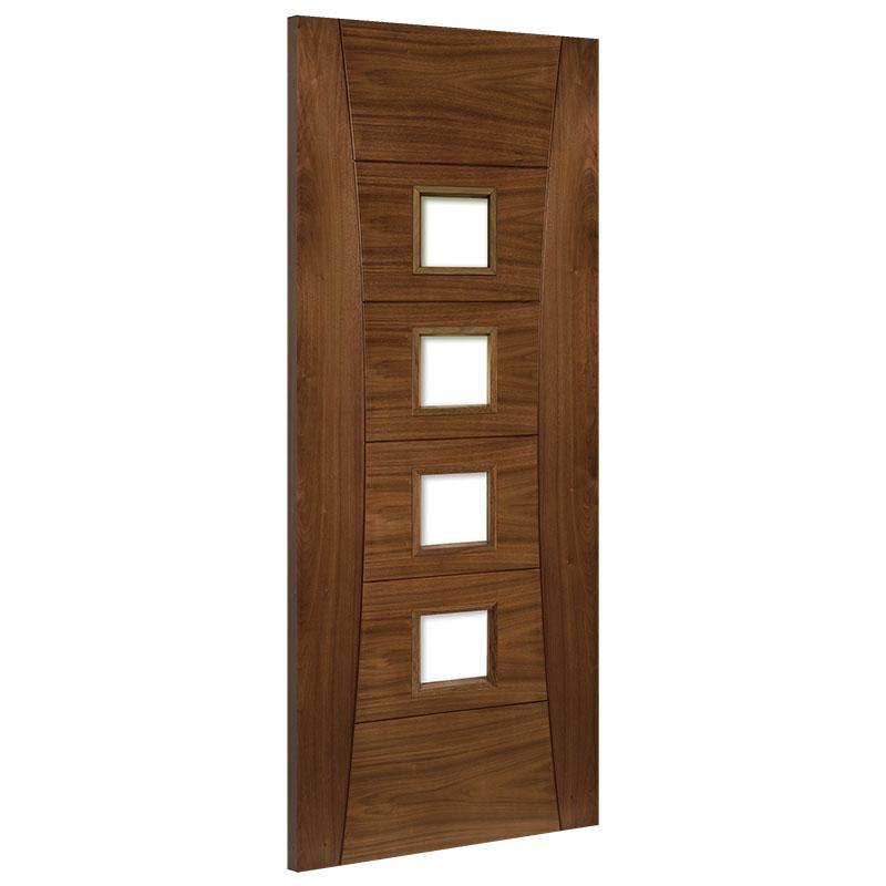 Pamplona Glazed Clear Interior Walnut Door Prefinished