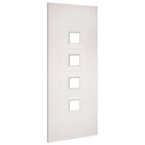 Pamplona Glazed Clear Interior White Primed Door