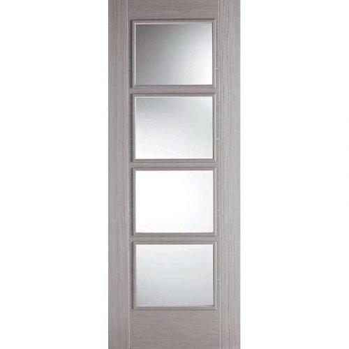 Vancouver 4L Light Grey Clear Glazed Internal Door