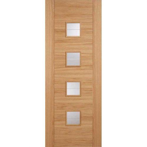 Vancouver Oak Internal Door with 4 Light Clear Brilliant Cut Glazed