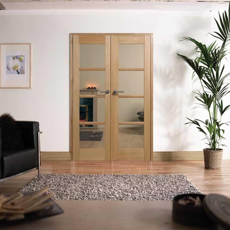 Oslo 4' 4L Glazed Prefinished Oak Room Divider
