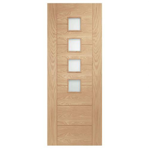 Palermo Internal Oak Door with Obscure Glass