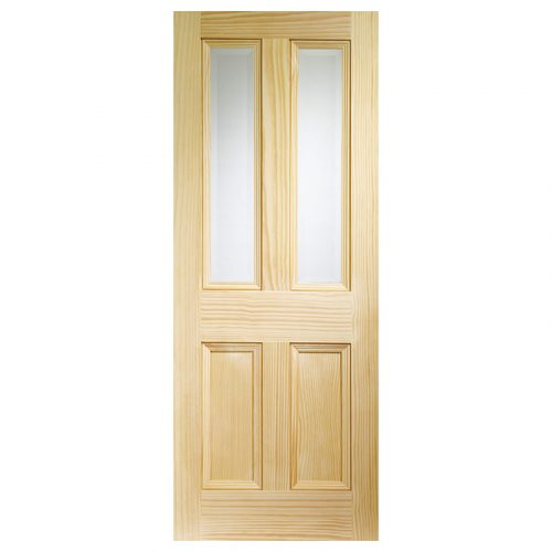 Edwardian 4 Panel Internal Vertical Grain Clear Pine Door with Clear Bevelled Glass