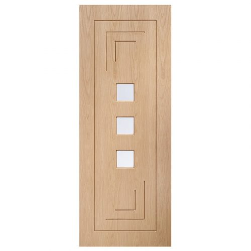 Altino Pre-Finished Internal Oak Door with Clear Glass