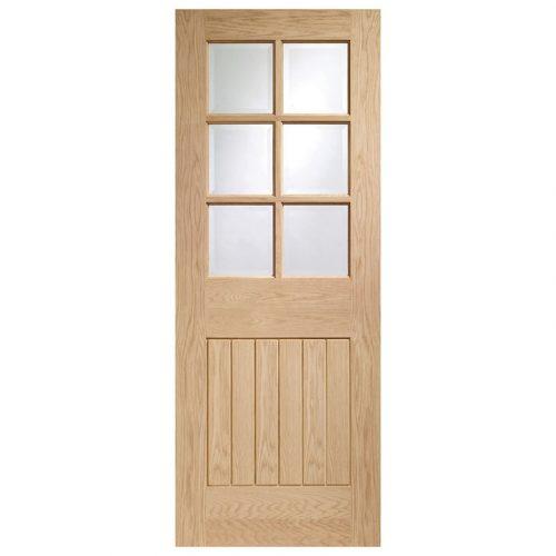 Suffolk 6 Light Internal Oak Door with Clear Bevelled Glass