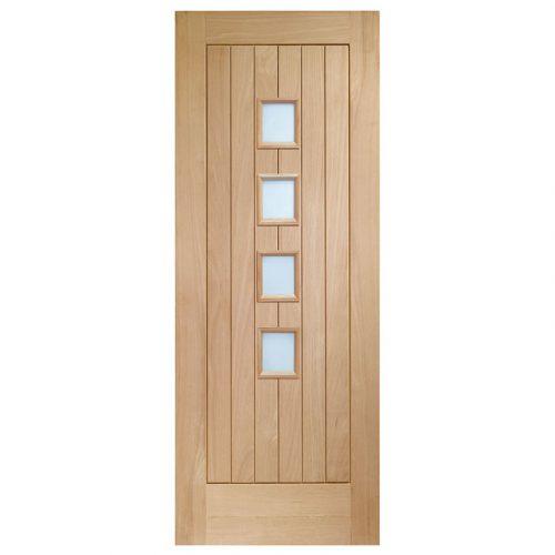 Suffolk 4 Light Internal Oak Door with Obscure Glass