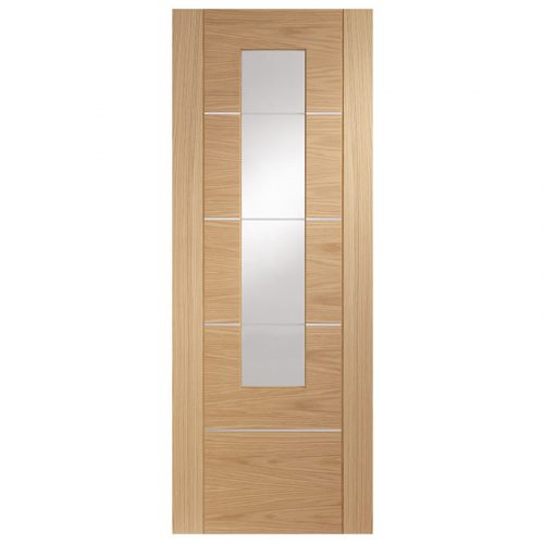 Portici Pre-Finished Internal Oak Door with Clear Glass