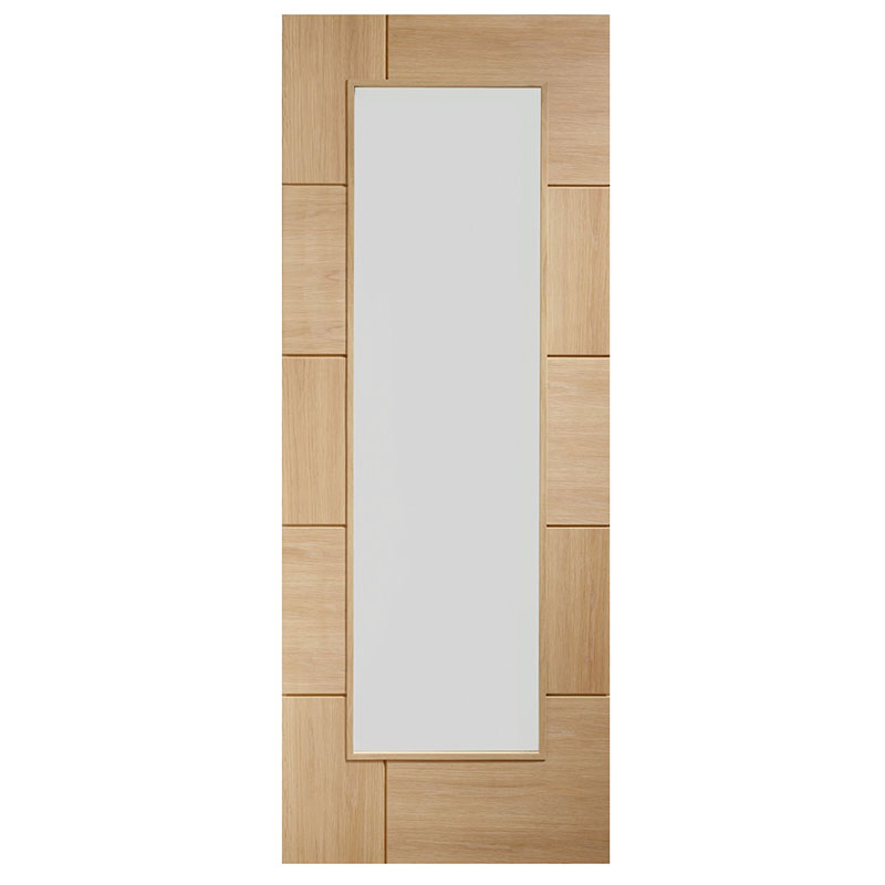Ravenna Pre-Finished Internal Oak Door with Clear Glass
