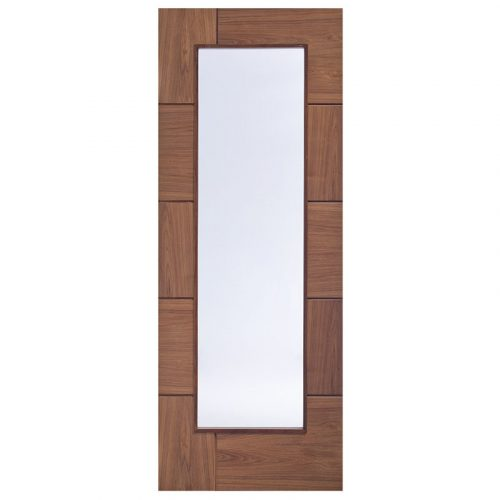Ravenna Walnut Pre-Finished Internal Door with Clear Glass