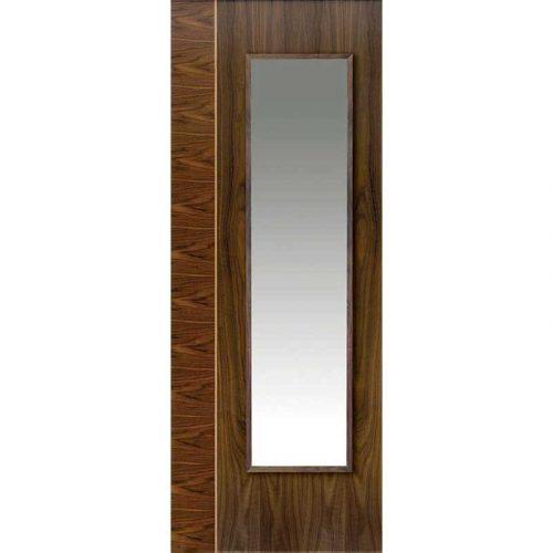 Walnut Flush Edras Glazed Internal Door