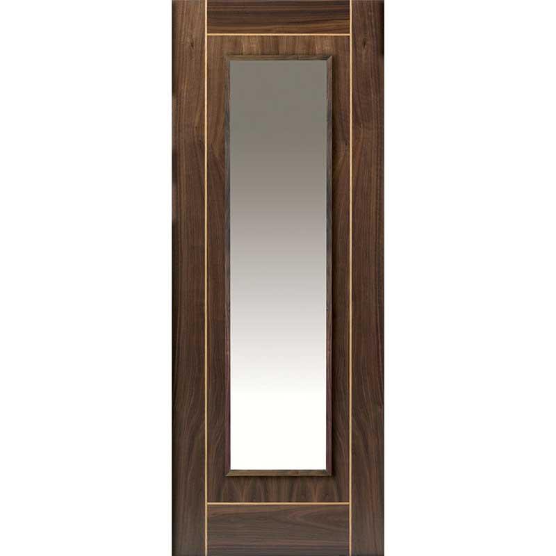 Walnut Flush Valcor Glazed Internal Door